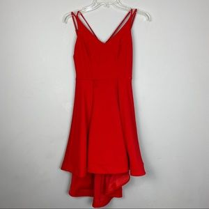 Strappy high/low mini dress in red size 3/4